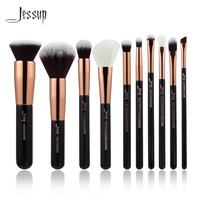 Jessup Brand Black Rose Gold Professional Makeup Brushes Set Make Up Brush Tools Kit Foundation Powder