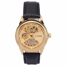 WINNER Automatic Golden Skeleton Steampunk Black Leather Strap Mechanical Self Winding Mens Watch Relogio Masculino Gift /PMW478
