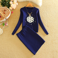 Women Knitted Mini Skirts Clothing Sets Print Flowers and Pearls Young Lady Fashion Tops+Skirt Suits Woman Pull Femme Set 980