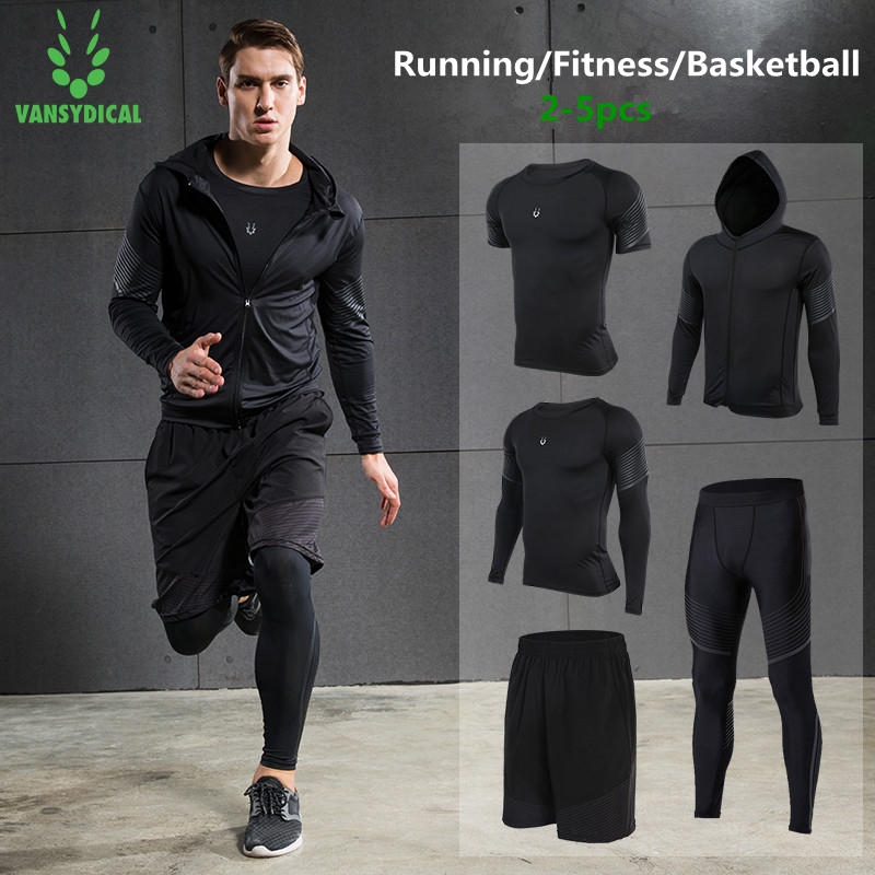 Vansydical 2019 Gym Running Sets mannen Fitness Compressie Panty Sportkleding Stretchy Training Sportkleding Joggingpakken 5pcs - 1