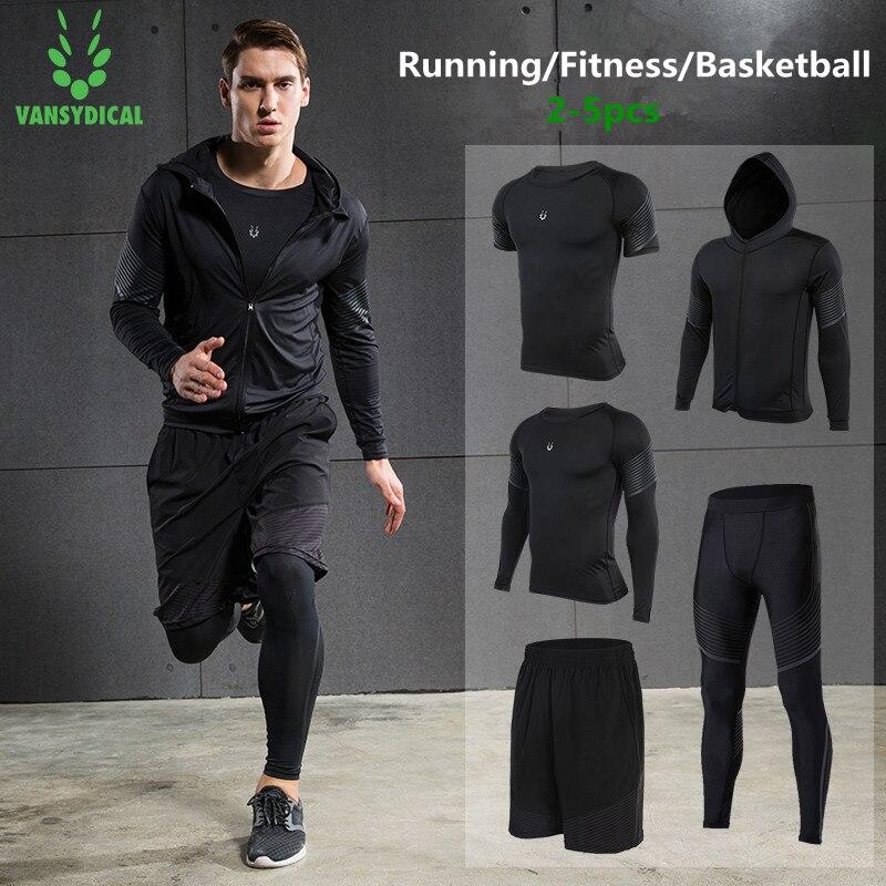 Vansydical 2019 Palestra Set per running di Forma Fisica degli uomini di Compressione Calzamaglie Sportswear Elastico Formazione Vestiti di Sport Tute Da Jogging 5pcs