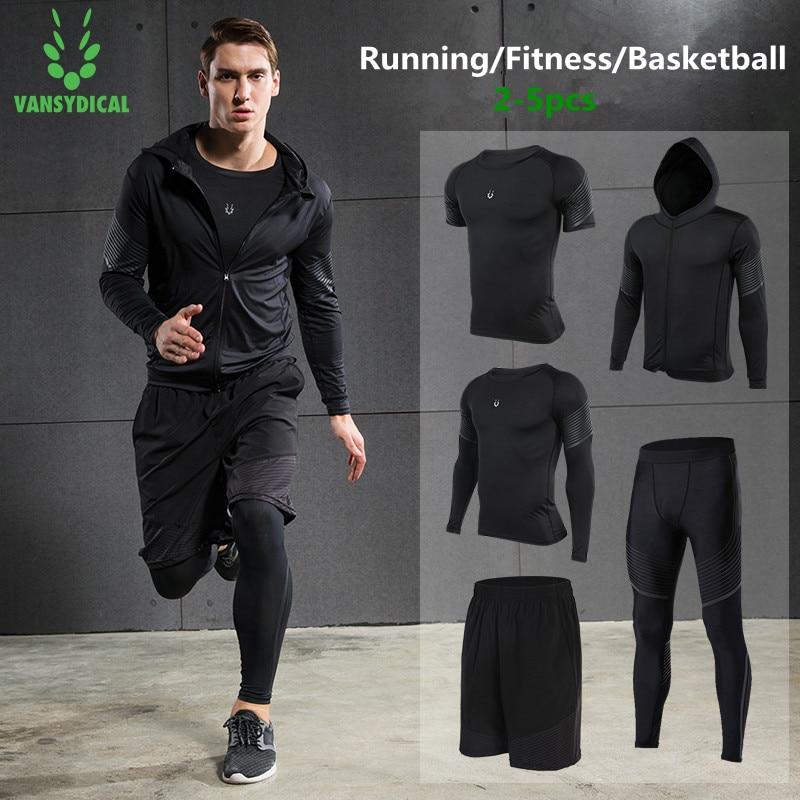 Vansydical 2019 ginásio correndo define calças de compressão de fitness dos homens roupas esportivas de treinamento elástico roupas jogging ternos 5 pçs