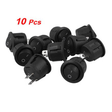 FSLH 10Pcs AC 6A 10A 250V On Off Snap in SPST Round Boat Rocker Switch Black