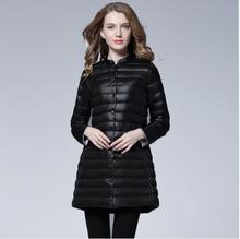 Women Down Coat 2018 Fashion Winter Long O-Neck Slim Fit Jacket Outwear Casual White Duck FR1103