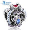 De calidad superior 925 encanto de plata rubí zafiro corona de perlas de cristal llena de pulsera original colgantes para las mujeres joyería fina gw x266h20