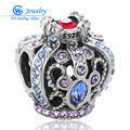 TOP Quality 925 Silver Charm Ruby Sapphire Crown Beads Full Crystal Original Bracelet Pendants For Women GW Fine Jewelry X266H20