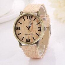 Женщин Деревянные Модные Часы Кварцевые наручные часы Elegent ПУ кожа Наручные часы relojes mujer Женщины Мужчины Часы подарок Г-Н