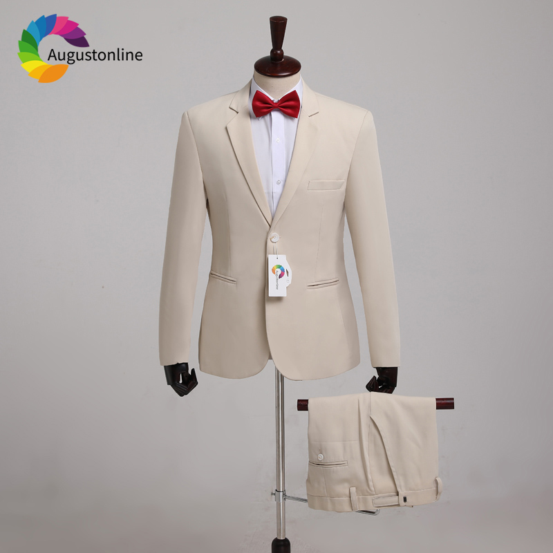 Custom Made Beige Men Suits Wedding Suit For Man Blazer Jacket Pants 2Piece Elegant Slim Fit Groom Tuxedo Costme Homme Groomsmen