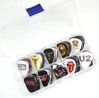 100pcs Medium 0.71mm Various Rock Band Guitar Picks Plectrums With Box