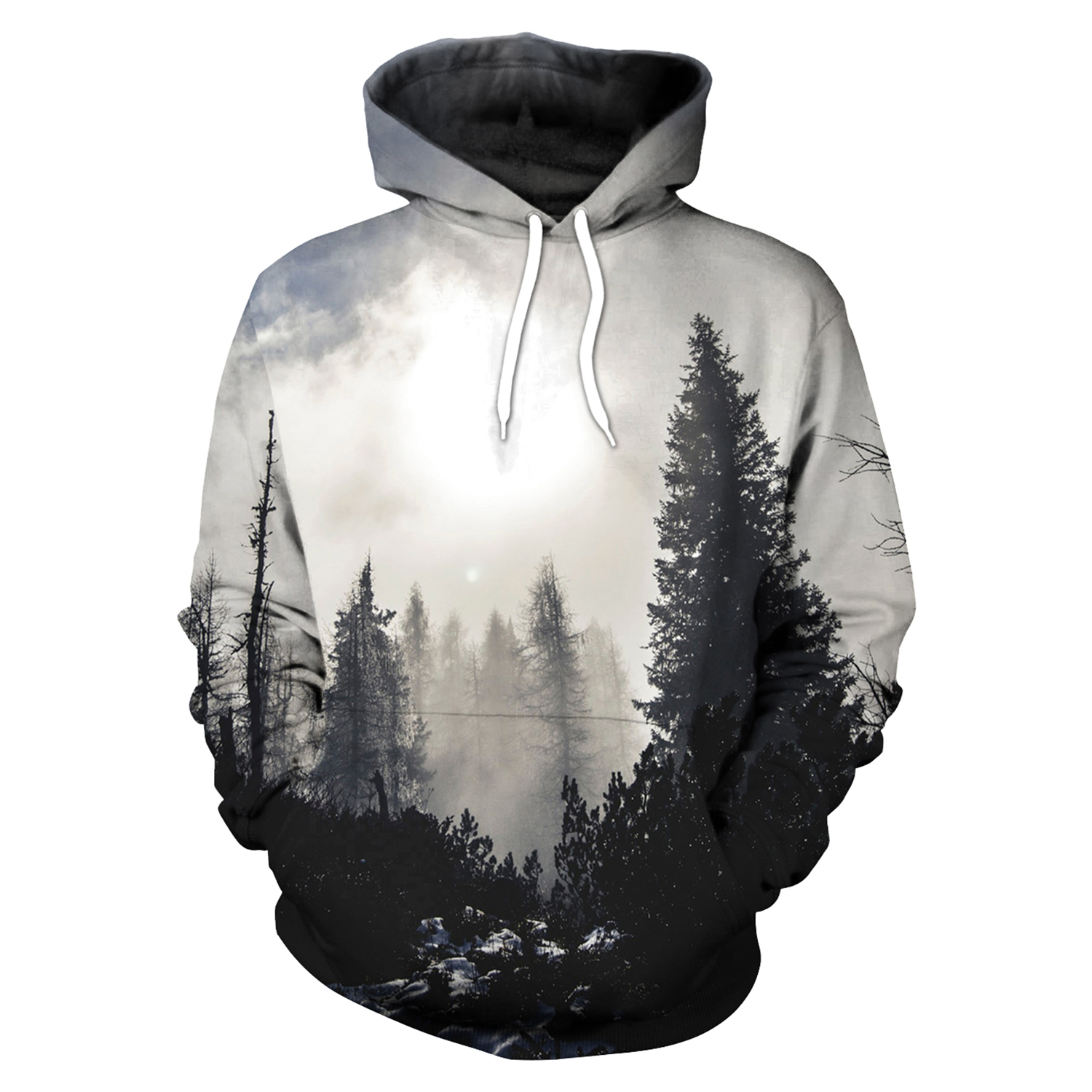 Forest Leaves 3D Print Hoodies with Hat Men Round Neck Loose Sweatshirt Pullover Sudaderas Para Hombre Streetwear Winter Clothes