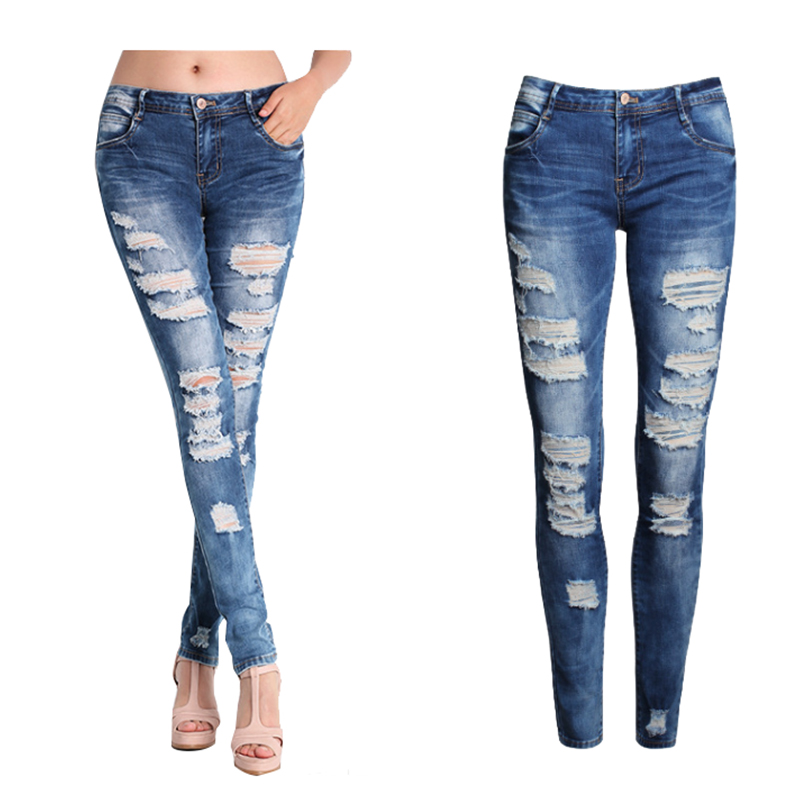 2016 new plus size woman jeans female blue slim ripped