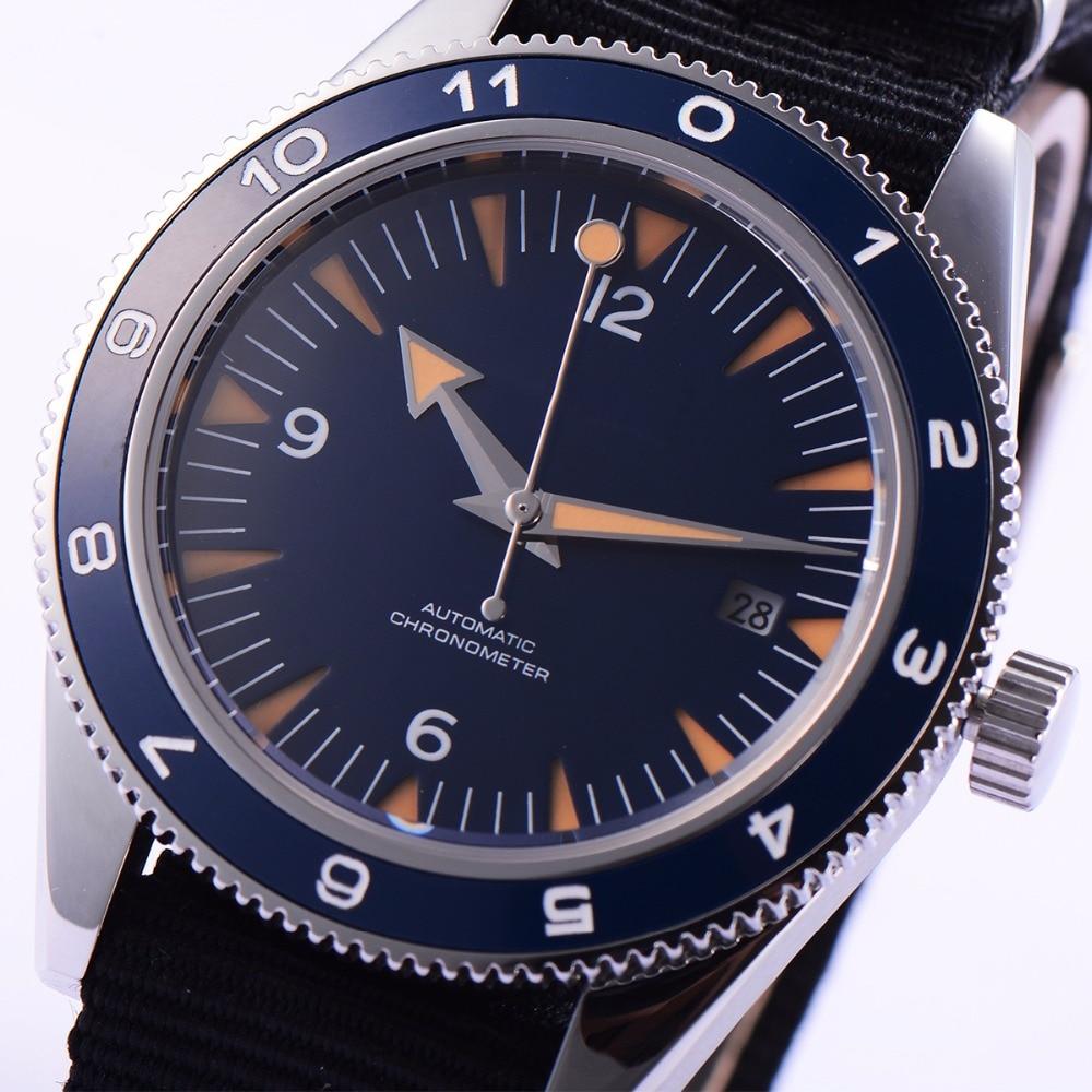 41mm debert blue sandwich dial sapphire glass miyota Automatic mens Watch D1 цена и фото