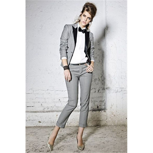 Aliexpress.com : Buy Womens Pant Suits Light Gray Formal Office ...