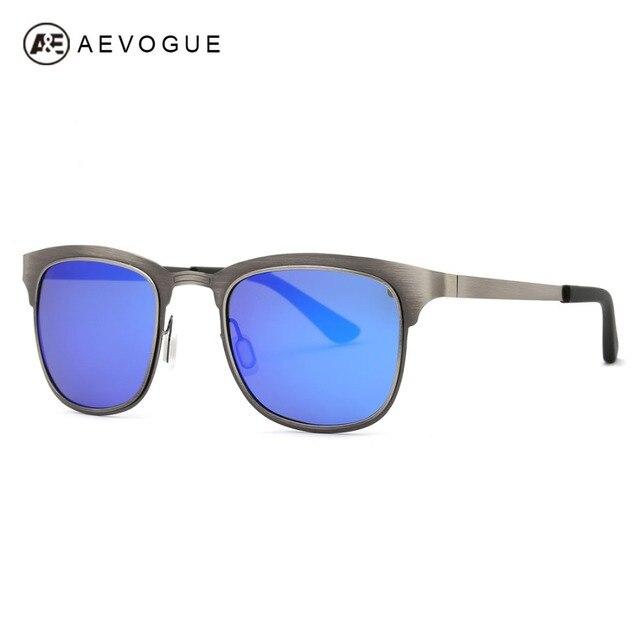 AEVOGUE Polarized Sunglasses Men Stainless Steel Frame Summer Style Luxury Brand Design Mirror Eyewear With Box UV400 AE0439