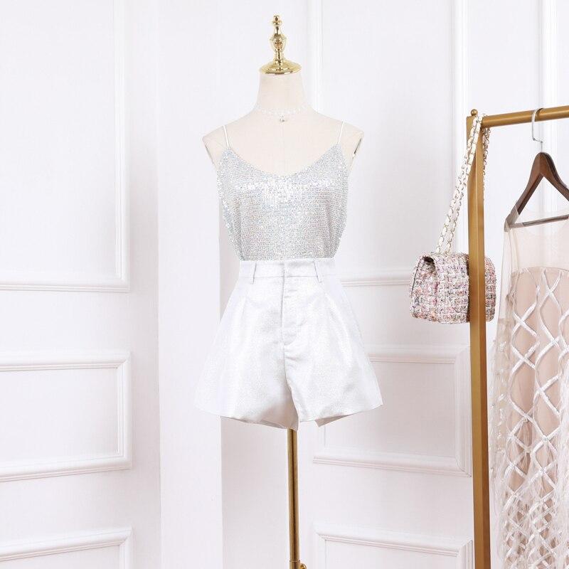 Nouveau 2019 Vogue of fund of edition robe harnais veste pailletée argent shorts pantalons chauds deux pièces tenue
