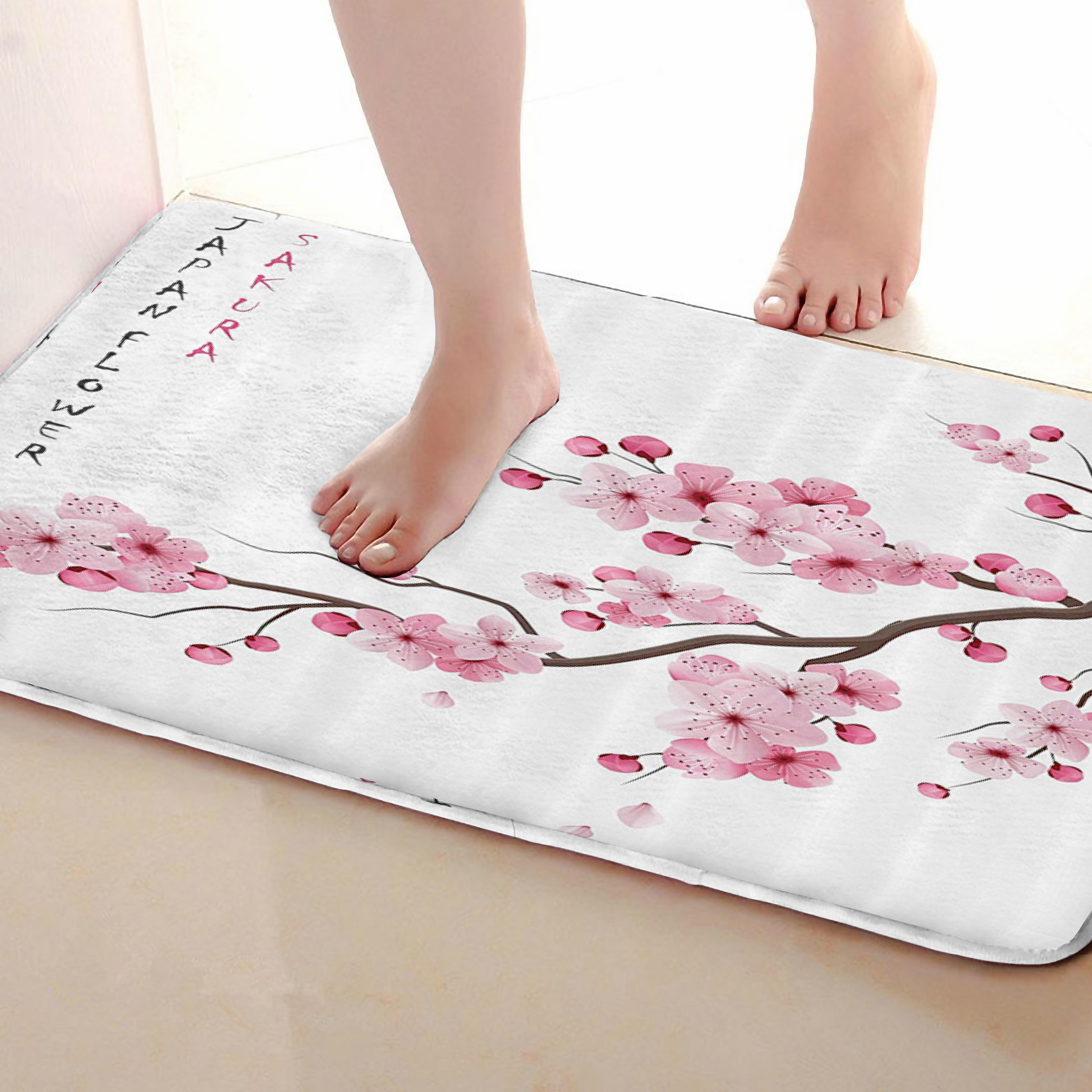 Peach Style Bathroom Mat,Funny Anti skid Bath Mat,Shower Curtains Accessories,Matching Your Shower Curtain