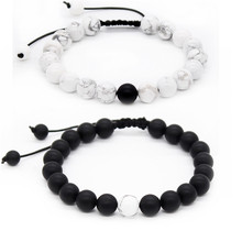 Poahfeel 8mm Round Black White Beads Bracelet Matching For Friendship Braid Jewelry