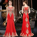 Real Picture 2016 New Style Long Red Evening Dresses Retro O-Neck Mermaid Elegant Formal Dresses Gold Appliques Robe Soiree
