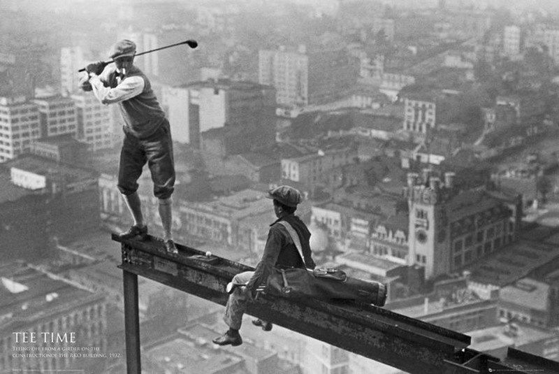 022 Golf on a Skyscraper Poster Tee Time Golfing New York City 21x14 Poster