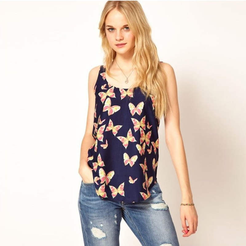 Hot Sale 1pc Casual Simple Chiffon Women Black Butterfly Print Tank Top Shirts Sleeveless Blouses