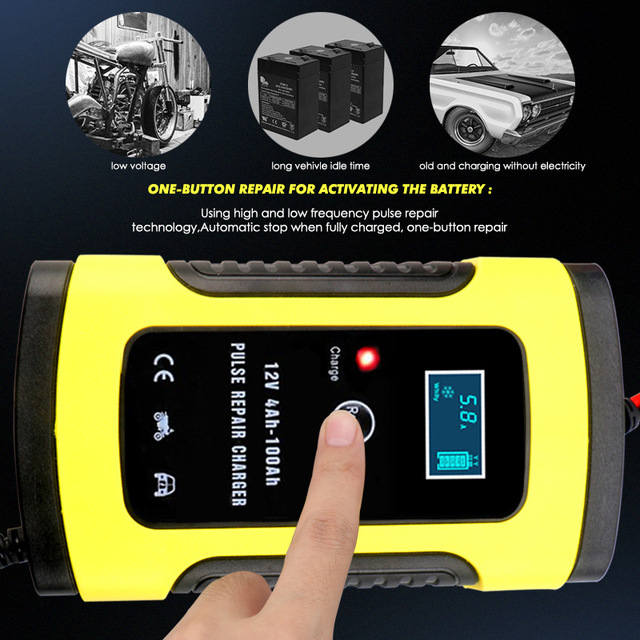 2PC Full Automatic Car Battery Charger 110V To 220V To 12V 6A LCD Smart Fast for Auto Motorcycle Lead-Acid Batteries Charging 2