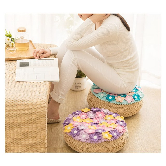 Original 38cm Handmade Crochet Seat Cushion Diy Sofa Mat Romantic