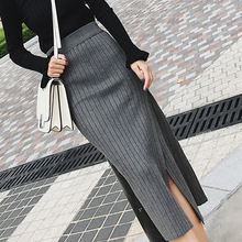 Autumn and winter streetwear version of women's knitted skirt with long, slit and drape to show цены онлайн