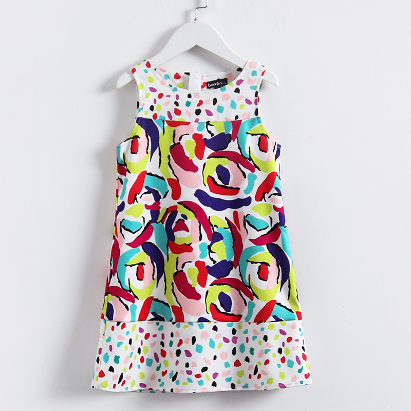 все цены на Summer children colorful print patchwork dress kids girls fashion dress child 3Y-14Y sleeveless soft girl formal party sundress