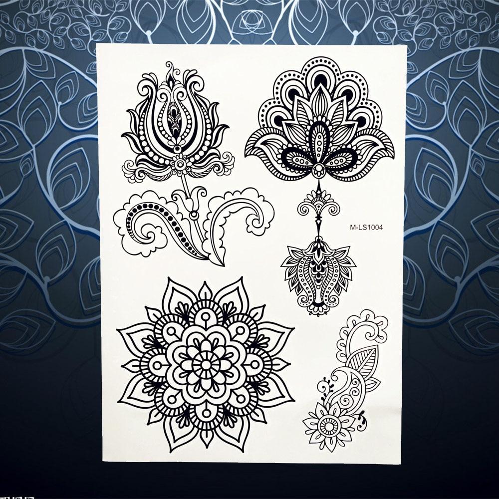 1 Pc Noir Fleur Non Toxique Tatouage Indien Henne Mehndi Pendentif