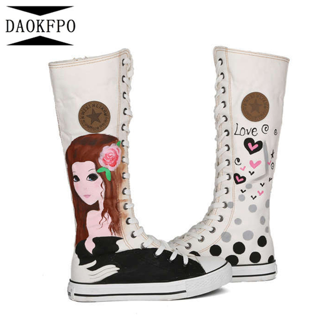 Daokfpo 2017 New Fashion 4 Colors Women's Canvas Boots Lace Up Knee High Boots Women Boots Flats Casual Tall Punk Shoes Girls by Daokfpo