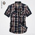 2016 Летний стиль Casual Высокое Качество Чистого Хлопка Удобная Вентиляция Твердые Коротким Рукавом Сетки Рубашки Slim Fit Мужчины Армии Рубашка