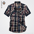 2016 Summer style Casual High Quality Pure Cotton Comfortable Ventilation Solid Short Sleeve Grid Shirt Slim Fit Men Army Shirt