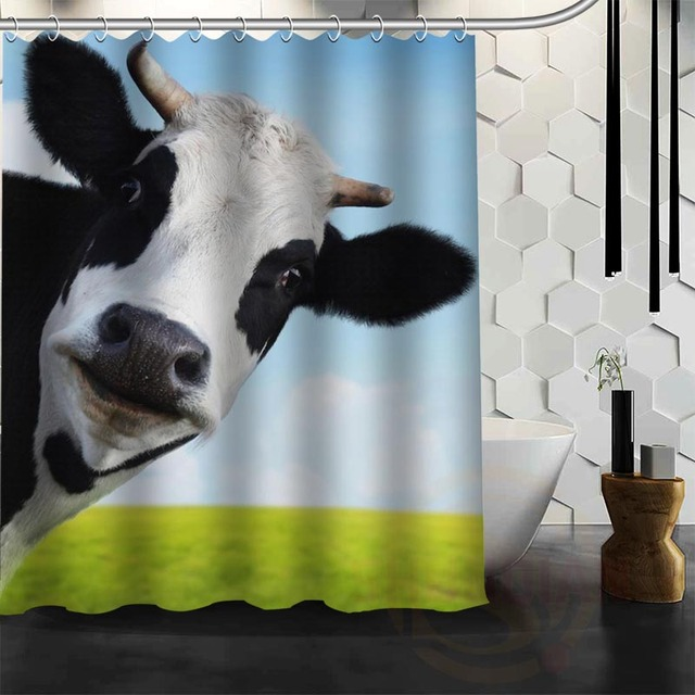 Best Nice Custom Cow Shower Curtain Bath Waterproof Fabric For Bathroom MORE SIZE WJY