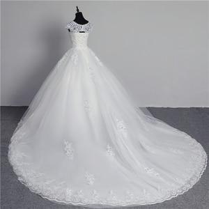 Image 2 - 100% foto real em estoque moda laço flor querida fora do branco sexy vestido de casamento muçulmano para noivas vintage applique lantejoulas