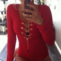 Zanzea New 2016 Rompers Womens Jumpsuit Sexy Leotard Tops Bodysuit Ladies Lace Up Slim Playsuit Long