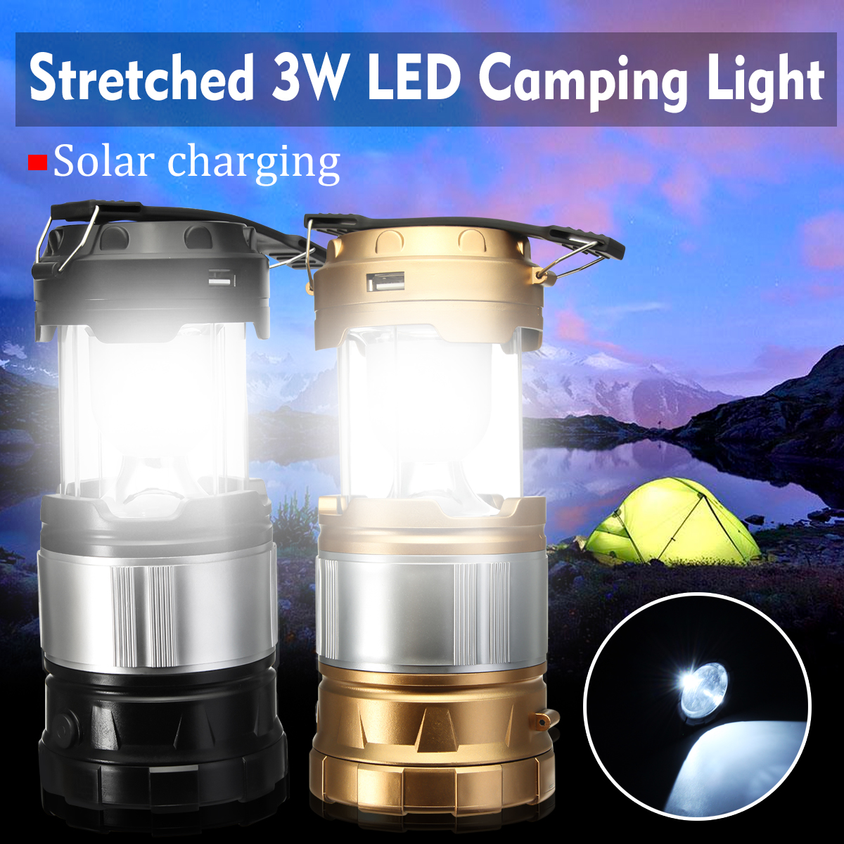 Portable Solar Rechargeable Outdoor Lantern Lamp Hiking Camping Fishing Light