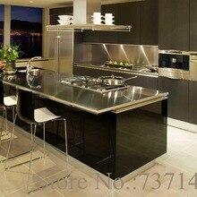 Кухонный черный лакированный кухонный шкаф мебель Фошань Фабрика из нержавеющей стали
