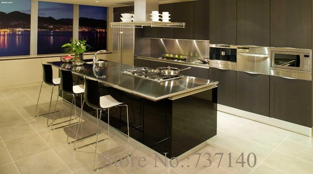 Stainless Steel Kitchen Black Lacquer Cabinet Foshan Furniture Factory