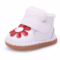2016 Flower Winter Infant Shoes Toddlers Baby Snow Boots Soft Kids Cotton Shoes Enfant Winter Baby