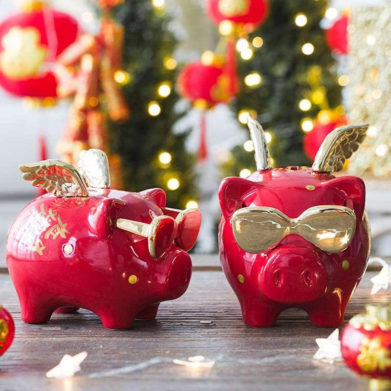 Tirelire ange tirelire Cool cochon Statue tirelire pour argent cadeau d'anniversaire pour enfants créatif décor à la maison ornement R384