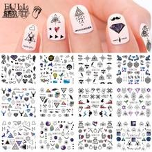 12 Designs Wasser Transfer Nagel Aufkleber Schwarz Halskette Dreieck Decals Slider für Maniküre Nail art Dekoration Tipps CHBN1129 1140