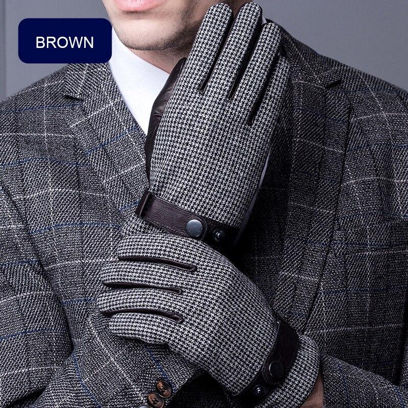 Winter Men's Genuine Leather Gloves Thicken Warm Flocking Lined Sheepskin Gloves Male Fashion Hand Back Plaid Wool Cloth ST6098