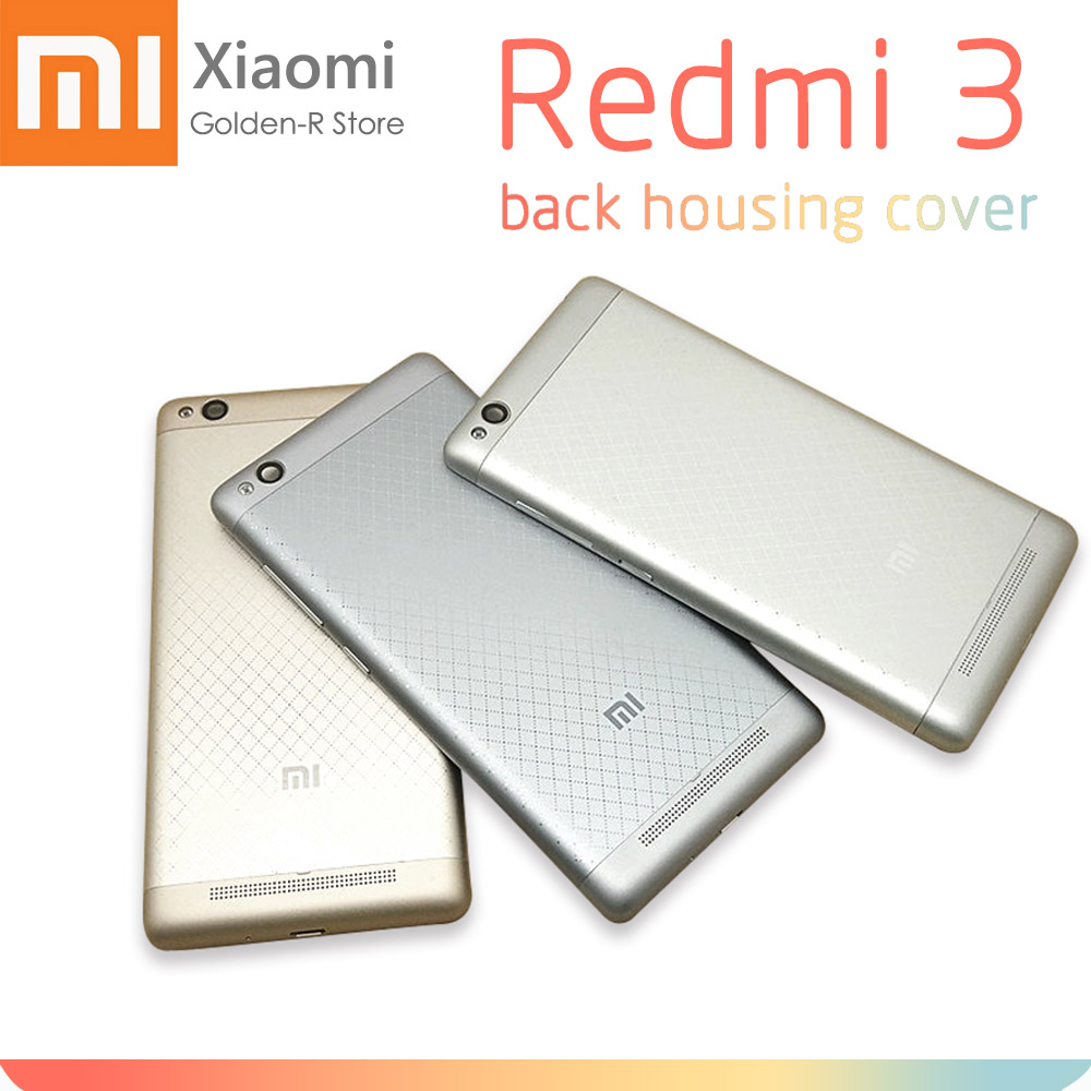 Replacement Parts For Xiaomi Redmi 3 Back Battery Door Cover Housing + Camera Glass Lens + Power Volume Button