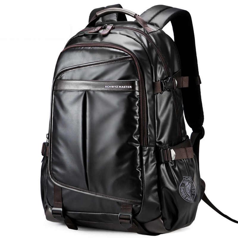 Tahan Air Tas Ransel Laptop Kelas Tinggi Pria Bisnis Multifungsi Tas Travel Tahan Air Kulit Sintetis Komputer Packsack
