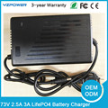 73V 2.5A 3A Smart LifePO4 Battery Charger For 20S 3.65V 3.7V Life Po4 Battery Pack