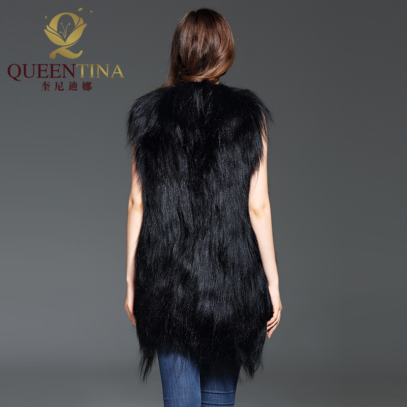 Manteau Réel Femmes Mode Femelle V Vestes Noir Nouvelle Sexy Chèvre Gilet 2018 De cou Longue Fourrure Moutons Laine Hiver rWdBECxoQe