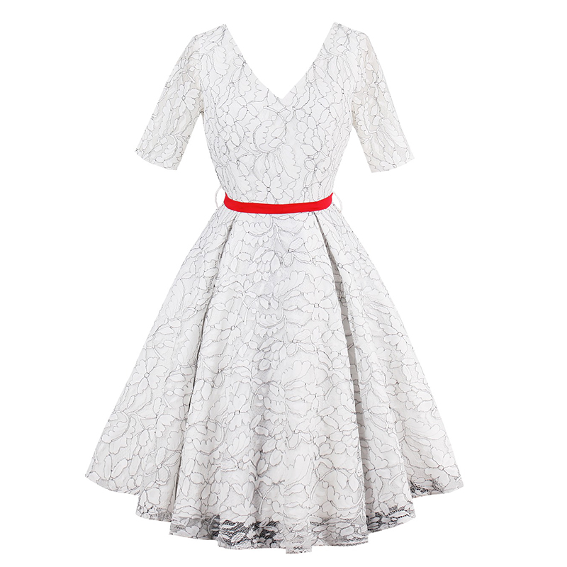 1950s Vintage Dresses Luxury Women Party Dress 2018 White Lace Printing Sexy Summer Belt Short Sleeves Retro Vneck Dresses