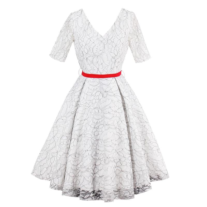 1950s Vintage Dresses Luxury Women Party Dress 2018 White Lace Printing Sexy Summer Belt Short Sleeves Retro Vneck Dresses