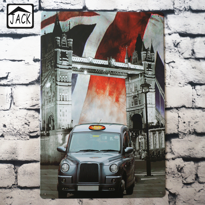 Car tower bridge 20x30cm tin plaque gallery tin paintings for Auto decoration shops in rawalpindi