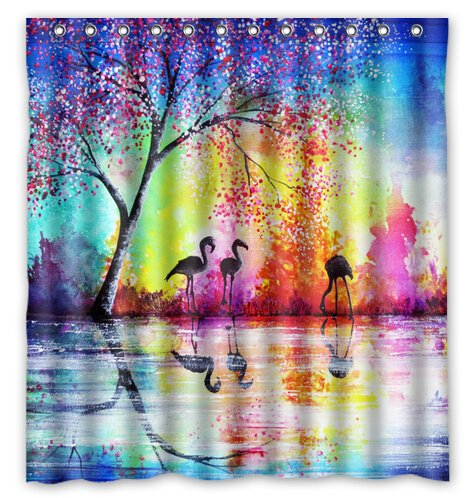 Colorful Tree Lake Flamingo Pattern 66x72 Inch Polyester Fabric Shower Curtain